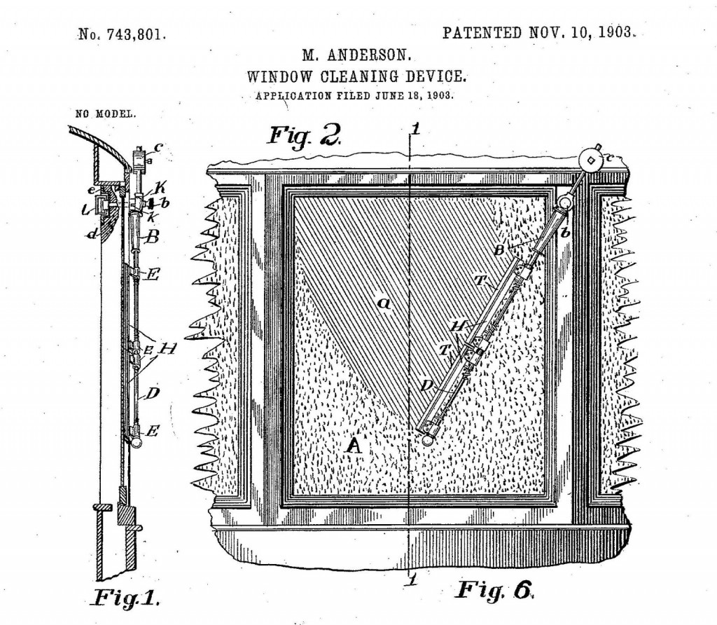 Mary Anderson patent for 1903 window cleaning device